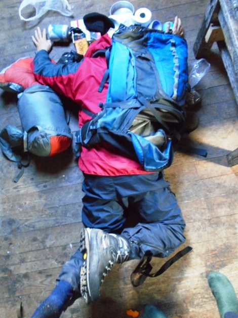 Face down on a bothy floor.  Knew I'd end up there sometime.